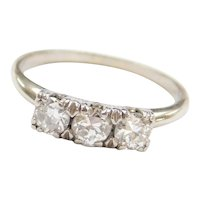 Art Deco .60 ctw Diamond Three Stone Ring 14k White Gold