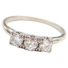 Art Deco .60 ctw Diamond Three Stone Ring 14k White Gold