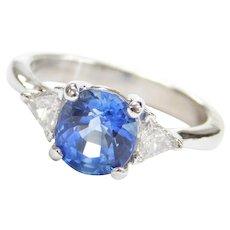 GIA Certified 3.00 ctw Cornflower Blue Ceylon Sapphire and Trillion Cut Diamond Engagement Ring Platinum