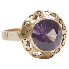 Victorian 3.00 Carat Color Changing Created Alexandrite Ring 10k Gold