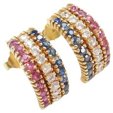3.06 ctw Ruby, Sapphire and Faux Diamond Earrings 18k Gold