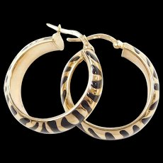 Vintage 14k Gold Black Enamel Zebra Striped Hoop Earrings