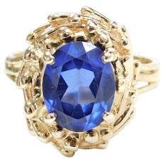 3.15 Carat Created Sapphire Ring with Halo Design 14k Gold