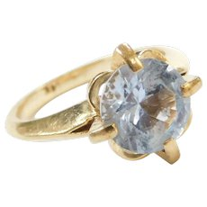 14k Gold 3.15 Carat Light Blue Topaz Ring Retro 1950's