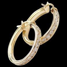 Vintage 14k Gold Faux Diamond Hoop Earrings