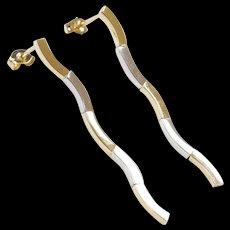 Vintage 14k Gold Two-Tone Long Wave Earrings