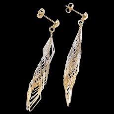 Vintage 14k Gold Two-Tone Long Dangle Earrings