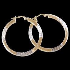 Vintage 10k Gold Two-Tone Big Hoop Earrings
