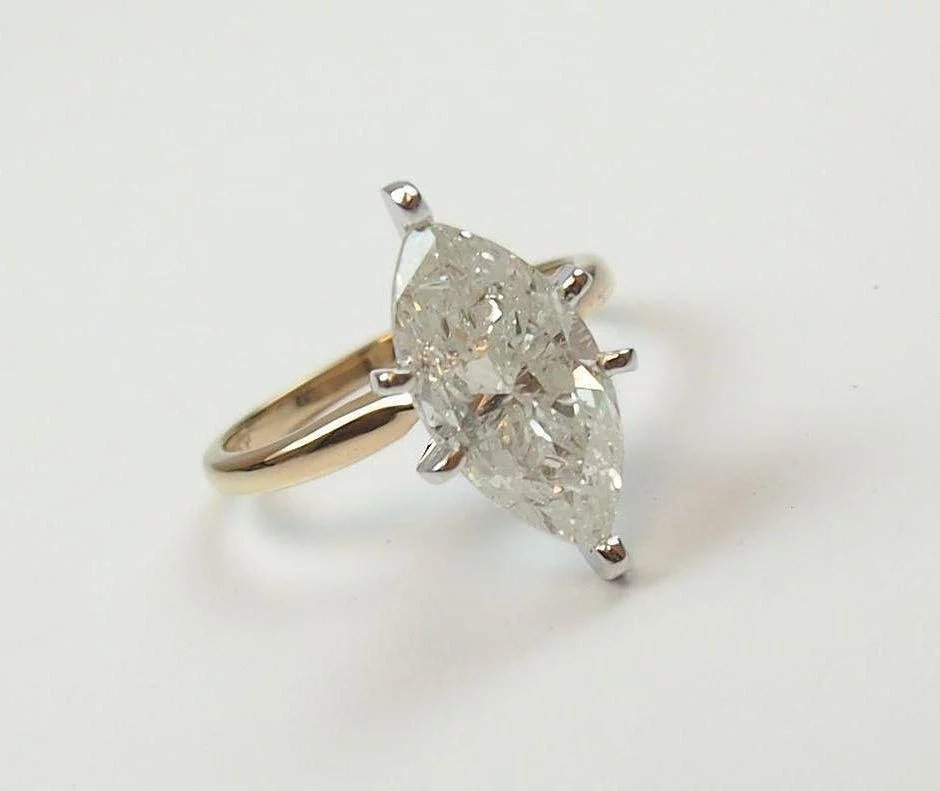 Vintage 14k Gold 3 28 Carat Marquise Diamond Engagement