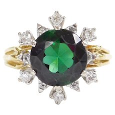 18k Gold 3.36 ctw Green Tourmaline and Diamond Ring Two-Tone