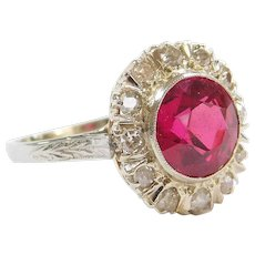 GIA Certified Edwardian 3.47 ctw Synthetic Ruby and Diamond Halo Ring 18k Gold and Platinum ~ Converted Stick Pin