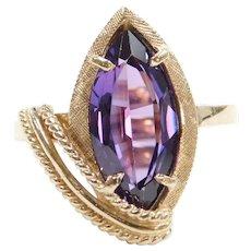 Retro 3.50 Carat Created Purple Alexandrite Ring 10k Gold