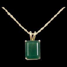 """Vintage 14k Gold 3.60 Carat Natural Emerald Necklace ~ 18"""""""