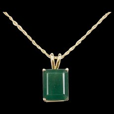 Vintage 14k Gold 3.60 Carat Natural Emerald Necklace ~ 18""