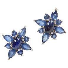 3.80 ctw Sapphire Stud Earrings 14k White Gold