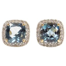 3.85 ctw Blue Topaz and Diamond Halo Stud Earrings 14k Gold