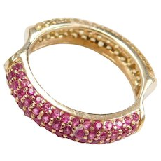Reversible 14k Gold 1.16 ctw Pink and Yellow Sapphire Ring