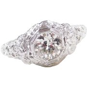Art Deco 14k White Gold .60 Carat Diamond Engagement Ring