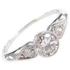 GIA Art Deco Platinum .56 ctw Diamond Engagement Ring