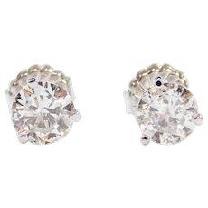 2.01 ctw Diamond Stud Earrings 14k White Gold