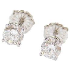 1.36 ctw Diamond Stud Earrings 14k White Gold