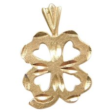 14k Gold Four Leaf Clover Charm / Pendant