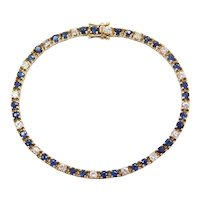 4.00 ctw Sapphire and Diamond Tennis Bracelet 14k Gold