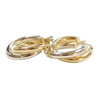Vintage 18k Gold Two-Tone Hoop Earrings