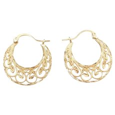 Vintage 14k Gold Ornate Filigree Hoop Earrings