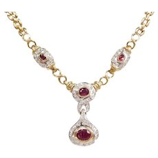 "16 3/4"" 4.12 ctw Natural Ruby and Diamond Two-Tone Necklace 14k Gold"