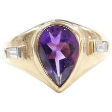 Vintage 14k Gold Men's 4.26 ctw Amethyst and Diamond Ring
