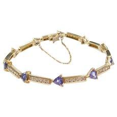"6 3/4"" 14k Gold 4.35 ctw Tanzanite and Diamond Bracelet"