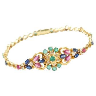"""4.86 ctw Natural Gemstone Flower Cluster Bracelet 7 1/8"""" ~ Part of a Set"""