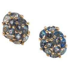 Gemstone Cluster Stud Earrings London Blue Topaz 2.32 ctw 10k Gold