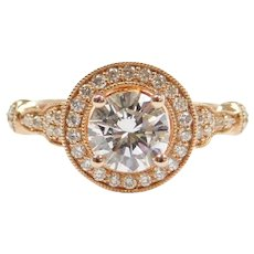 GIA Certified 1.18 ctw Diamond Halo Engagement Ring 14k Rose Gold