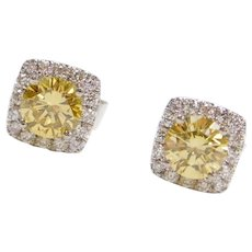 .96 ctw Fancy Yellow and White Diamond Halo Stud Earrings 14k White Gold