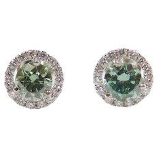 .88 ctw Fancy Blue and White Diamond Halo Stud Earrings 14k White Gold