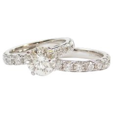 4.13 ctw ~ 2.00 Carat Diamond in 1.02 ctw Engagement Ring with 1.11 ctw Wedding Band 14k Gold Set