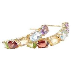 Vintage 10k Gold 5.04 ctw Colorful Gemstone Earrings