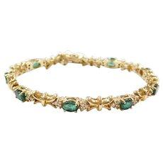 "Vintage 14k Gold 5.13 ctw Natural Emerald and Diamond Bracelet 7"""