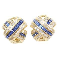 Charles Krypell 5.18 ctw Sapphire and Diamond Stud Earrings 18k Yellow Gold with Omega Backs ~ Designer