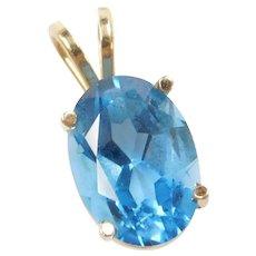 Vintage 14k Gold 7.50 Carat Blue Topaz Pendant