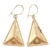 Vintage 14k Gold Big Triangle Diamond Dangle Earrings