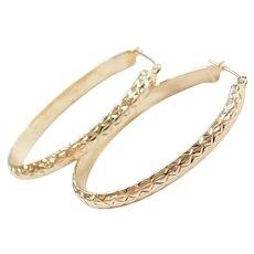 14k Gold Diamond Cut Oval Hoop Earrings