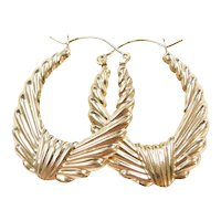 10k Gold Puff Hoop Earrings