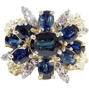Sparkling 18k Gold 5.40 ctw Natural Sapphire and Diamond Ring