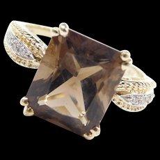 Vintage 14k Gold 5.40 ctw Smoky Quartz and Diamond Two-Tone Ring