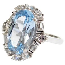 5.45 ctw Art Deco Revival Blue Topaz and White Spinel Ring 10k White Gold