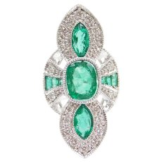 GIA Certified 5.10 ctw Natural Zambia Emerald and Diamond Art Deco Inspired 14k White Gold Ring ~ BIG