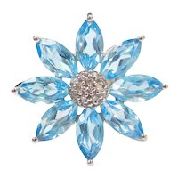 5.68 ctw Blue Topaz and Diamond Flower Fashion Ring 14k White Gold
